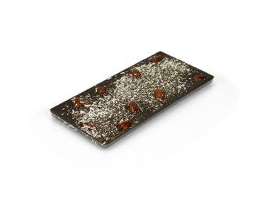 Tablette amandes caramélisées et noix de coco – chocolat lait 38% minimum de cacao